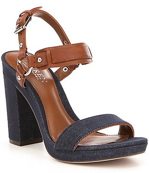 Lauren Ralph Lauren Faustine Denim & Leather Banded Platform Sandals