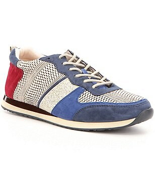 Antonio Melani Edson Mixed Media Color Block Lace-Up Sneakers
