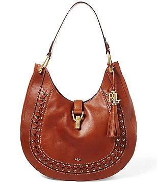 Lauren Ralph Lauren Ashfield Collection Abree Tasseled Laced Hobo Bag