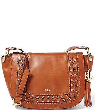 Lauren Ralph Lauren Ashfield Collection Amari Tasseled Laced Saddle Bag
