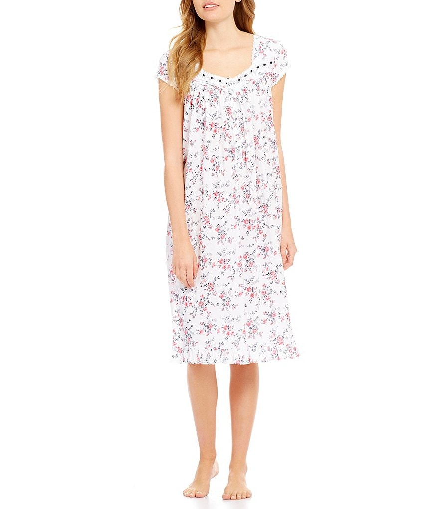 Eileen West Lace-Trimmed Floral Waltz Nightgown
