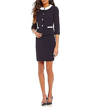 Tahari ASL Petite Collarless Button-Front 2-Piece Skirt Suit