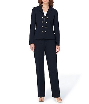 Tahari ASL Petite Crepe Double-Breasted Military 2-Piece Pant Suit
