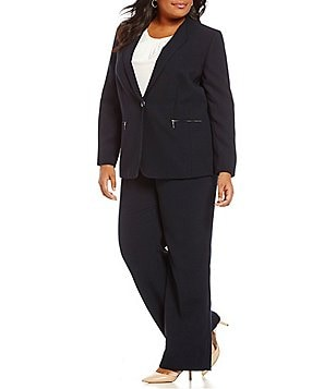 Tahari ASL Plus Crepe Zipper-Pocket 2-Piece Pant Suit