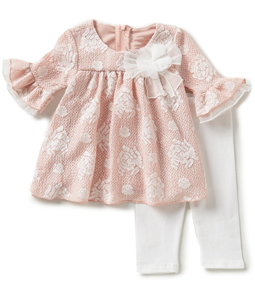 Bonnie Baby Baby Girls Newborn-24 Months Textured Jacquard Dress and Solid Leggings Set