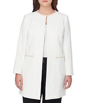 Tahari ASL Plus Embroidered Pearl Chain-Trim Ponte Elongated Topper