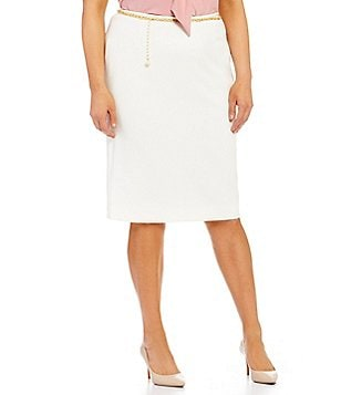 Tahari ASL Plus Stretch Ponte Chain-Belt Pencil Skirt