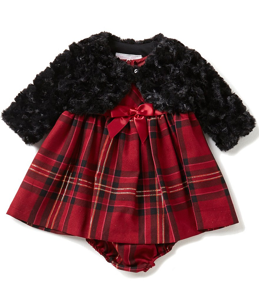 Bonnie Baby Girls Newborn-24 Months Solid Faux-Fur Jacket and Plaid Dress Set