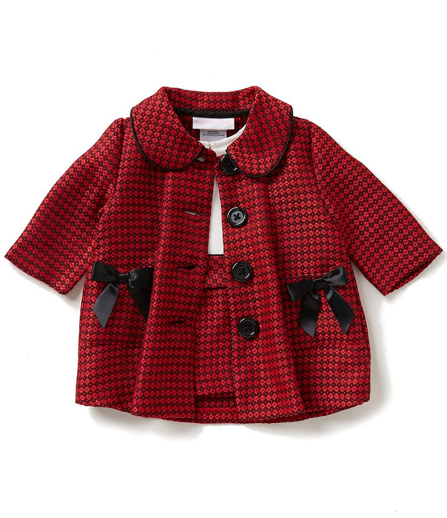 Bonnie Baby Baby Girls Newborn-24 Months Plaid Long-Sleeve Coat and Color Block Dress Set