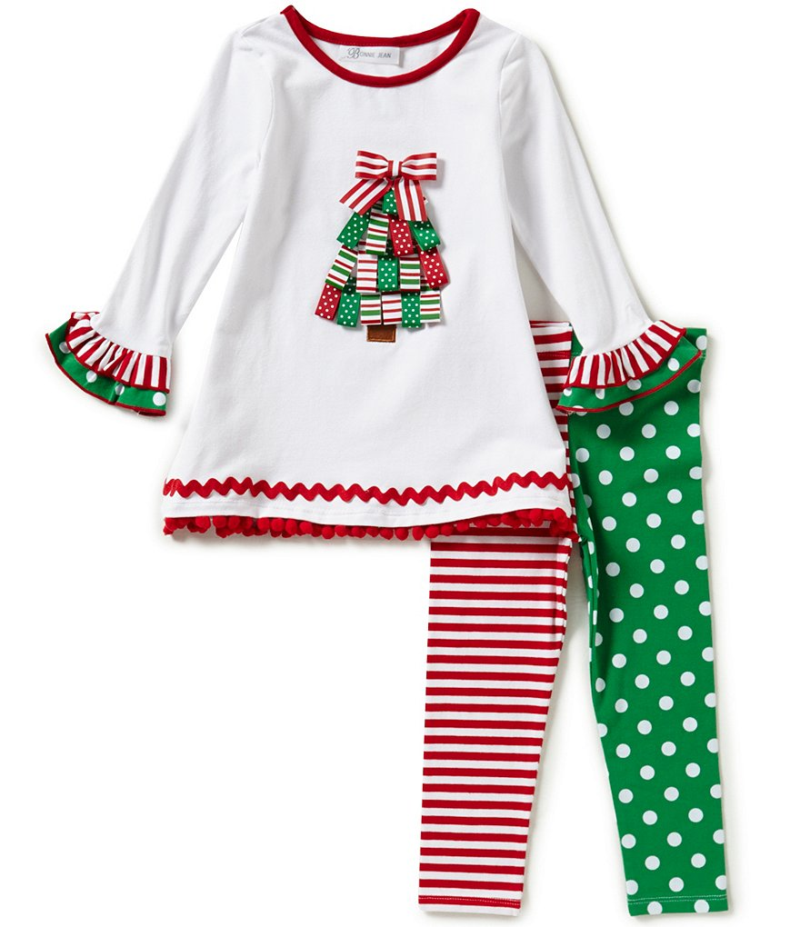 Bonnie Baby Baby Girls Newborn-24 Months Christmas Tree Appliquéd Dress and Mixed-Print Leggings Set