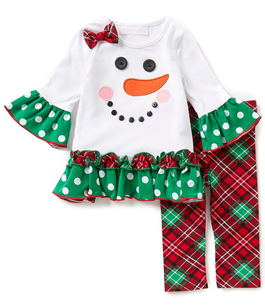 Bonnie Baby Baby Girls Newborn-24 Months Christmas Snowman-Appliquéd Dress and Plaid Leggings Set