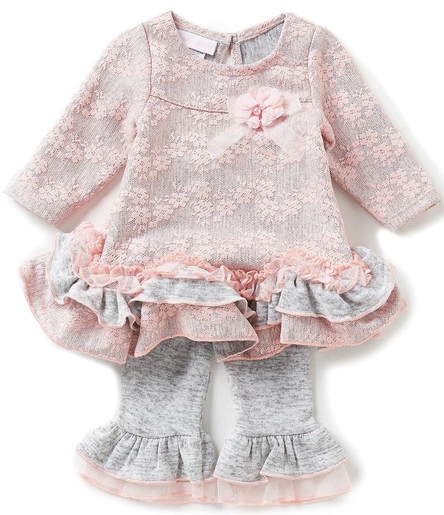Bonnie Baby Baby Girls Newborn-24 Months Bonded-Lace Dress and Ruffle-Hem Leggings Set
