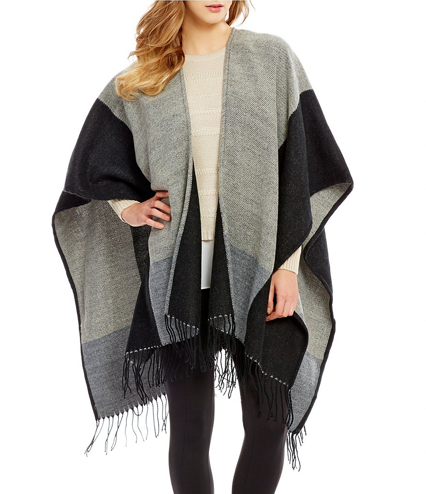 I.N. San Francisco Color Block Fringe Trim Sweater Cape