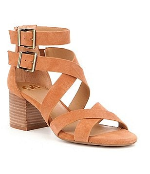 GB Cross-Back Nubuck Banded Double Ankle Strap Block Heel Sandals