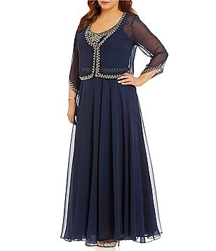 Jkara Plus Beaded 2-Piece V-Neck 3/4 Sleeve Jacket Dress