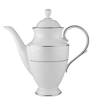 Lenox Opal Innocence Vine & Pearl Platinum Opalescent Bone China Coffeepot