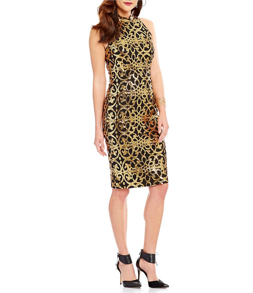 Gianni Bini Stella Sequin Lace Mock Neck Sheath Dress