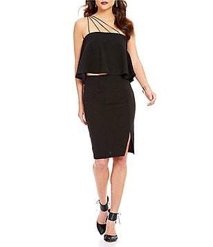 Gianni Bini Penelope One-Shoulder Sleeveless Solid Popover Set