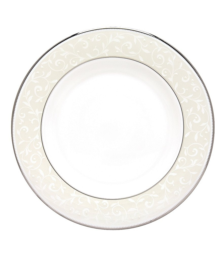 Lenox Opal Innocence Vine & Pearl Platinum Opalescent Bone China Salad Plate