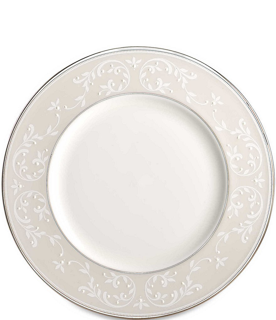 Lenox Opal Innocence Vine & Pearl Platinum Opalescent Bone China Accent Salad Plate