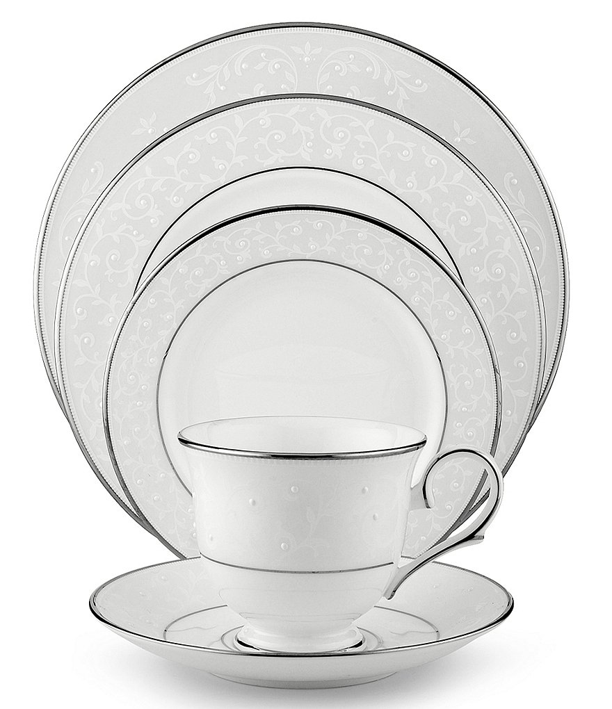 Lenox Opal Innocence Vine & Pearl Platinum Opalescent Bone China 5-Piece Place Setting