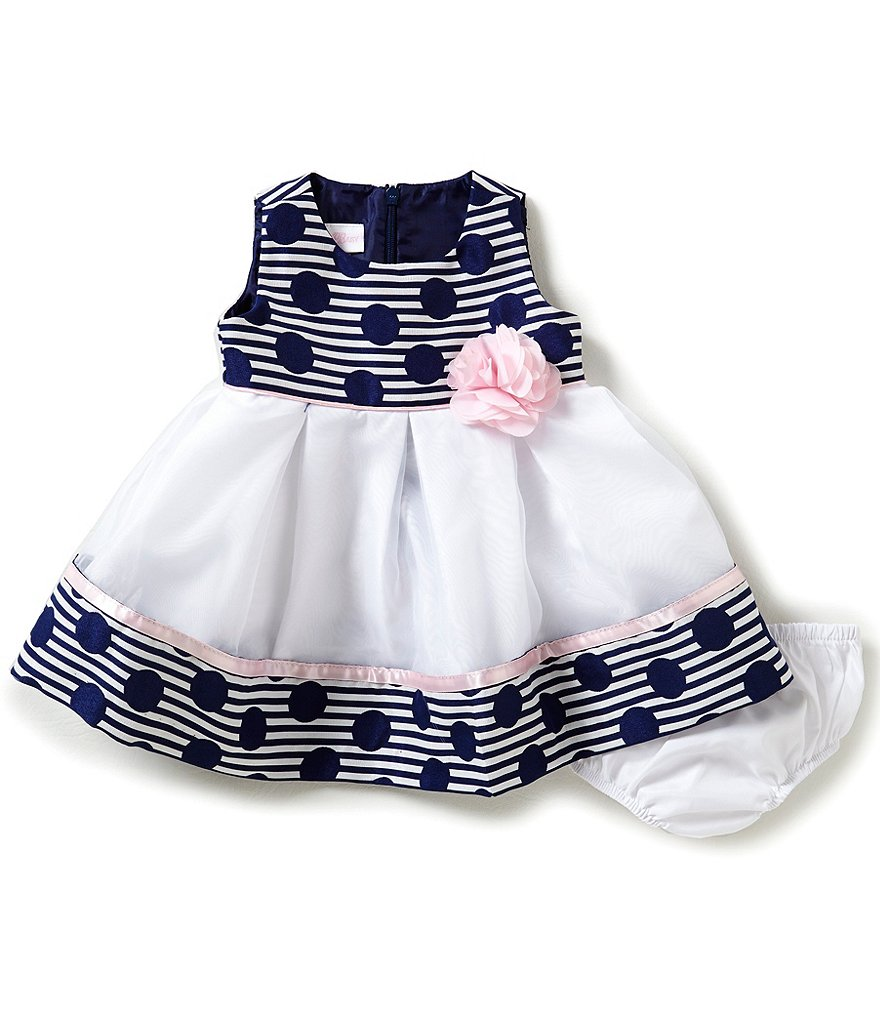 Bonnie Baby Baby Girls Newborn-24 Months Dotted & Striped Jacquard Dress