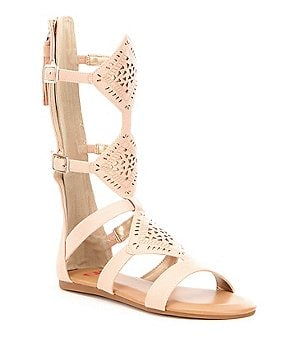 GB Girls Witty-Girl Tasseled Laser-Cut Metallic Gladiator Sandals