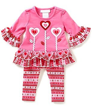 Bonnie Baby Baby Girls Newborn-24 Months Valentine´s Heart-Appliqued Dress & Printed Legging Set