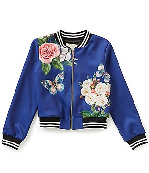Hannah Banana Black Label Big Girls 7-16 Butterfly Floral Mock Neck Bomber Jacket