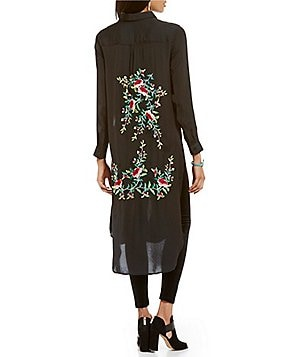Chelsea & Theodore Point Collar Roll-Tab Long Sleeve Embroidered Duster