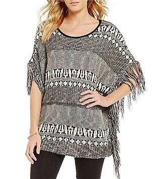Takara Jacquard Pattern Fringed Poncho Sweater