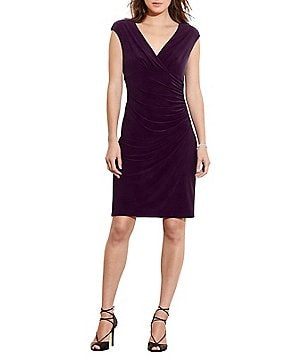 Lauren Ralph Lauren Adara Surplice Neck Cap Sleeve Faux-Wrap Sheath Dress