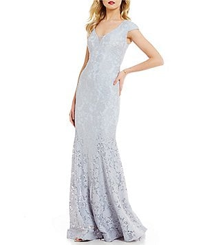 Betsy & Adam V-Neck Cap Sleeve Illusion Lace Gown