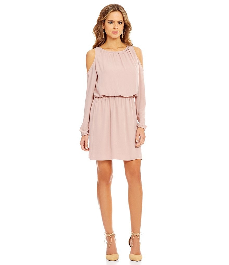 Gianni Bini Brook Cold-Shoulder Long Sleeve Blouson Dress