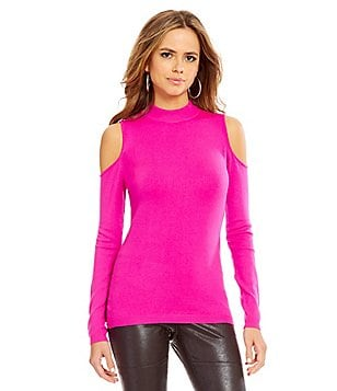 Gianni Bini Raquel Mock Neck Cold-Shoulder Sweater