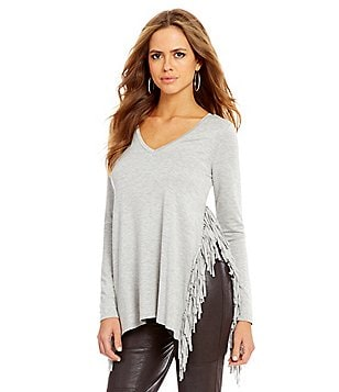 Gianni Bini Olive V-Neck Fringe Slit Long Sleeve Tee