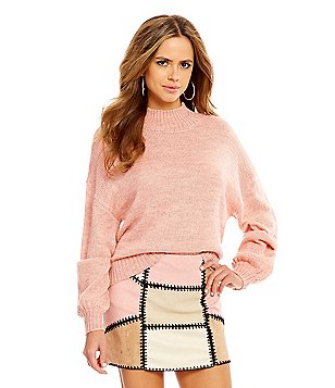 Gianni Bini Tyler Mock Neck Dropped Shoulder Pullover Sweater