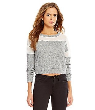 Gianni Bini Austin Sheer Shoulder Sweatshirt