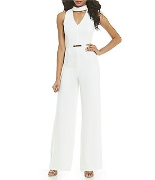 Gianni Bini Rose Choker Neck Sleeveless Wide-Leg Jumpsuit