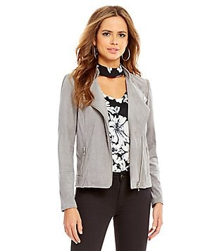 Gianni Bini Kimberly Faux-Suede Front-Zip Moto Jacket