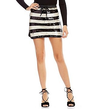 Gianni Bini Jamie Stripe Sequin Mini Skirt