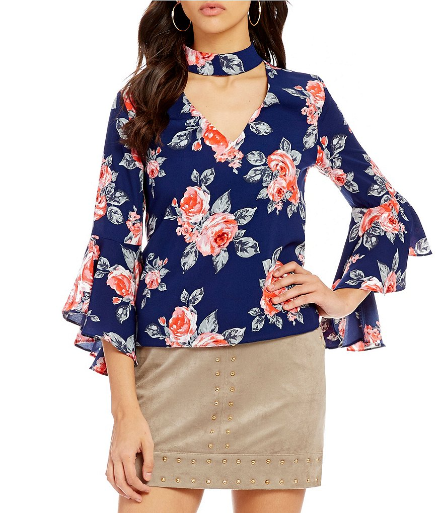 Gianni Bini Blithe Choker Neck Bell Sleeve Printed/Floral Blouse