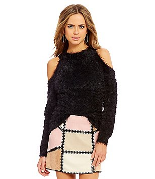 Gianni Bini Shaun Cold-Shoulder Long Sleeve Nub Sweater
