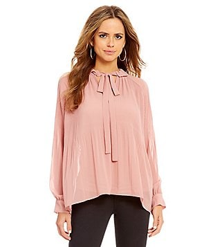Gianni Bini Morgan Pleat Shoulder Tie Neck Blouse