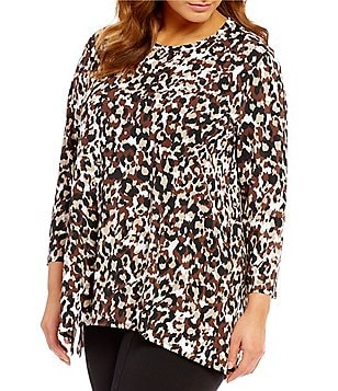 Multiples Plus Crew Neck 3/4 Sleeve Sharkbite Hem Printed Tunic