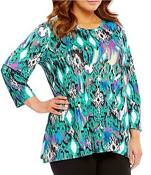 Multiples Plus Crew Neck Print 3/4 Sleeve Tunic