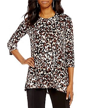 Multiples Crew-Neck Leopard Print 3/4 Sleeve Tunic