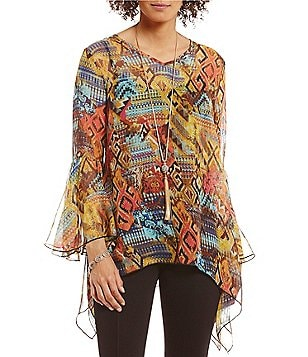 Paris Hues Bell Sleeve Printed Sharkbite Hem Tunic