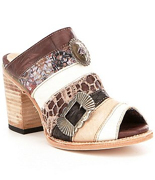 Freebird Budha Fabric & Leather Patchwork Peep Toe Slip On Block Heel Mules