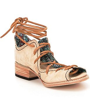 Freebird Peace Leather Peep Toe Lace Up Ankle Tie Ghillie Shooties